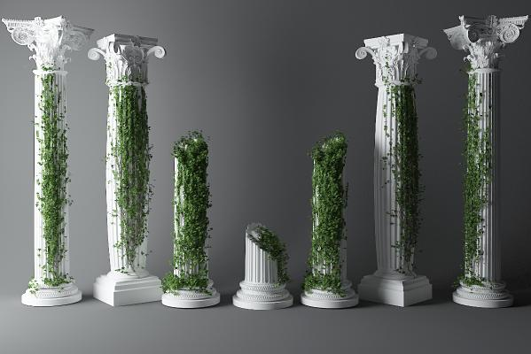 欧式罗马柱 藤蔓 绿植