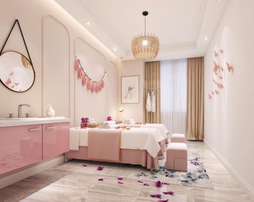 现代美容院 美容院床 镜子