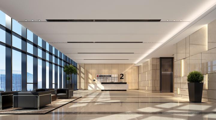 現代公司前臺 寫字樓大廳 辦公大廳