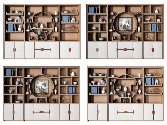 新中式实木书柜 摆件组合