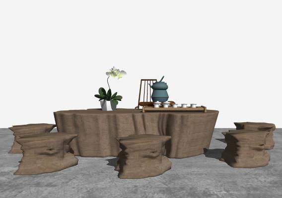 新中式根雕茶台