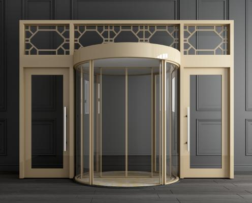 新中式金属旋转门 玻璃旋转门 自动旋转门