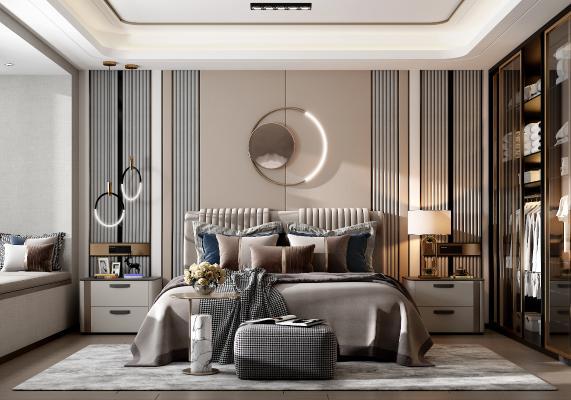 现代轻奢卧室 床组合 床头柜 衣柜 吊灯 台灯 床尾凳 装饰品