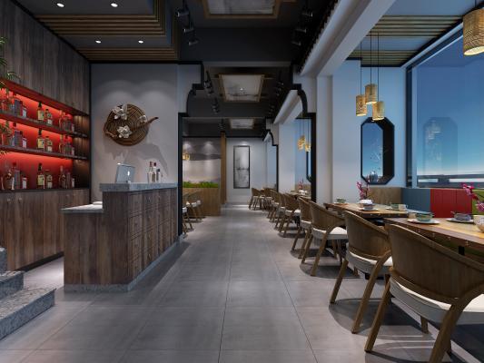 新中式餐厅 餐饮大厅 收银台 餐边柜