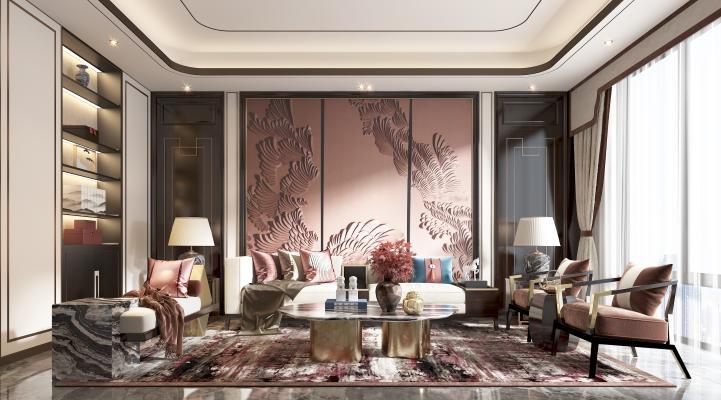 新中式客廳 沙發 茶幾