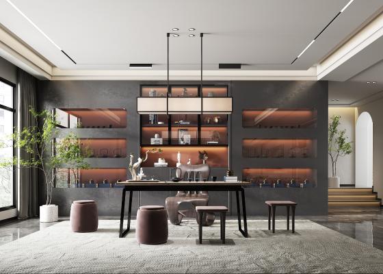 新中式茶馆 茶室 茶桌 茶台