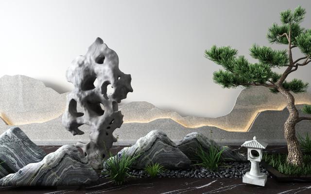 新中式景观小品 松树 石头