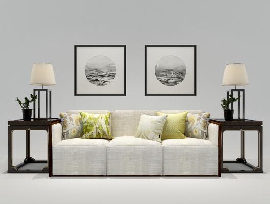 新中式三人沙发 边几 台灯挂画组合