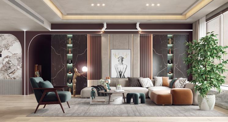 现代客厅 沙发茶几 组合沙发背景墙