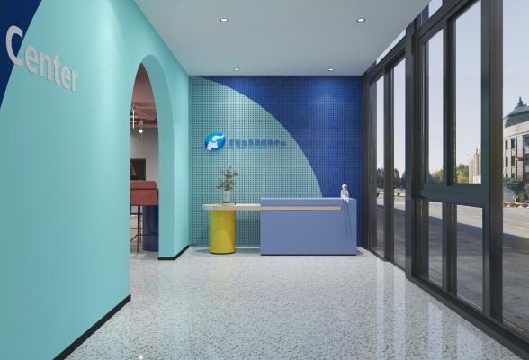 现代办公室前台 吊灯