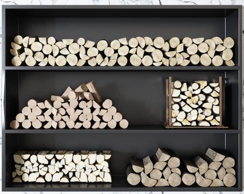 现代壁炉 木柴堆 木头堆组合