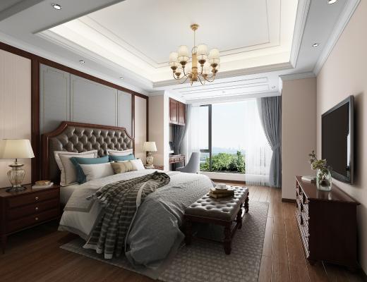 美式卧室 吊灯 双人床