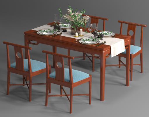 新中式餐桌椅组合 餐具