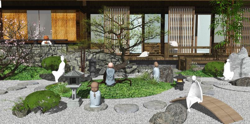 新中式庭院景观 枯枝 景观小品 景观树