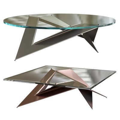 现代玻璃金属茶几