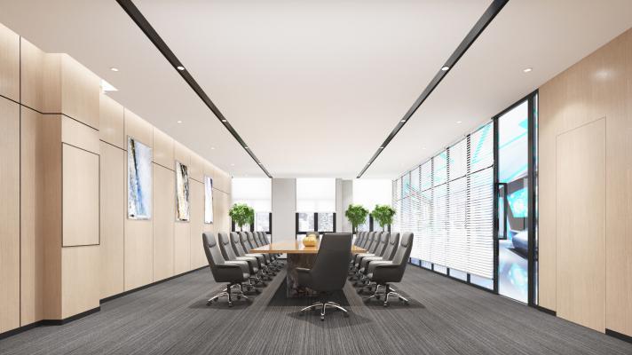 现代会议室 挂画 会议桌椅