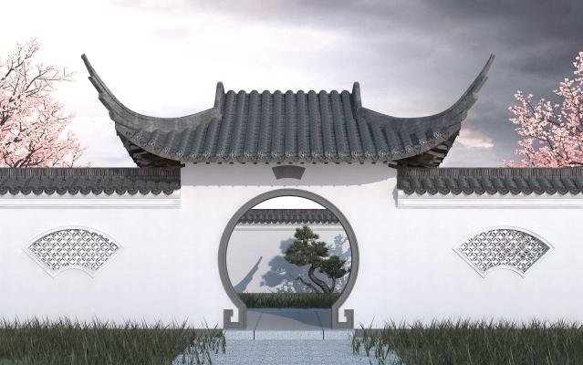 中式风格景观小品 园林月洞门