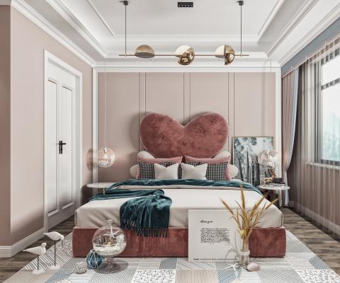 现代卧室 双人床 女孩房