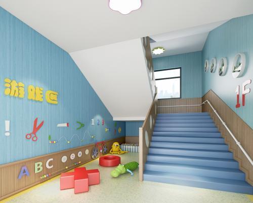 现代风格幼儿园楼梯道