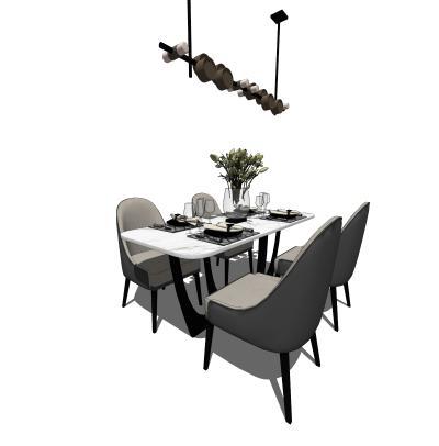 现代餐桌椅子组合