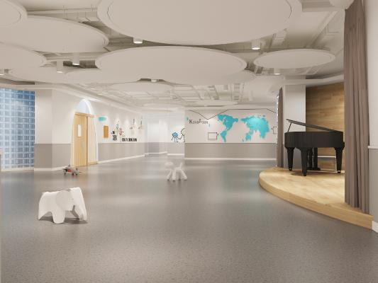 现代培训中心 大厅 钢琴 吊灯