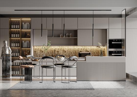现代餐厅 多功能开放式厨房 水吧台 橱柜 酒柜 单椅 雕塑 玻璃隔断