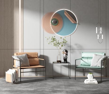 现代风格单椅 边几 墙饰 饰品摆件