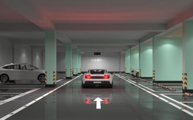 现代地下停车场 交通设施