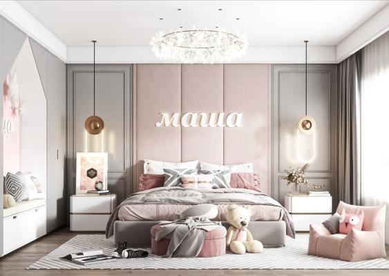 现代儿童房 女儿房 儿童双人床