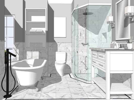 现代卫生间 洗漱台盆 浴室镜