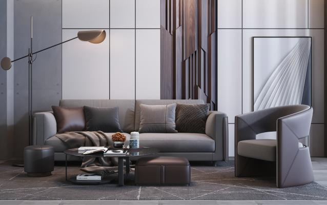 后现代高级灰沙发 单人沙发 茶几组合