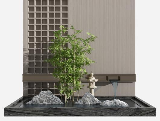 新中式竹子 山石 景�^