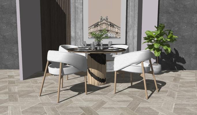 现代风格餐桌椅 餐具 休闲椅