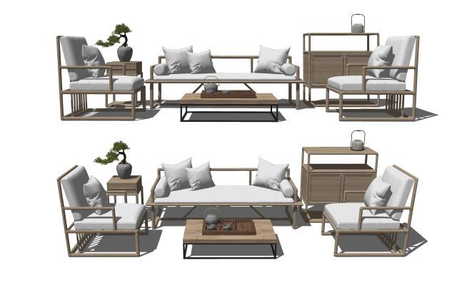 新中式实木沙发茶几组合 单人沙发 卧榻床榻