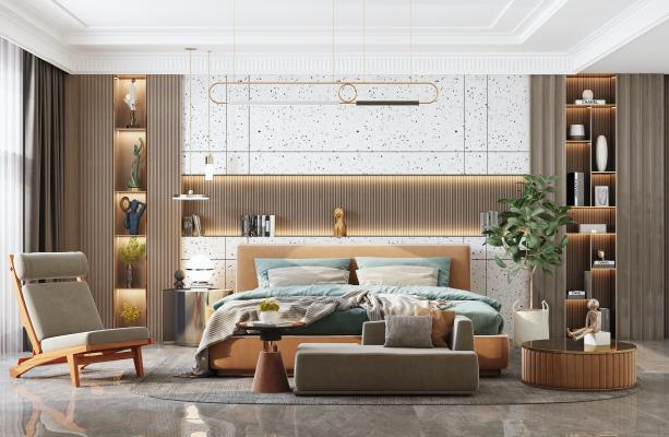 现代卧室 床具 单椅 陈设摆件