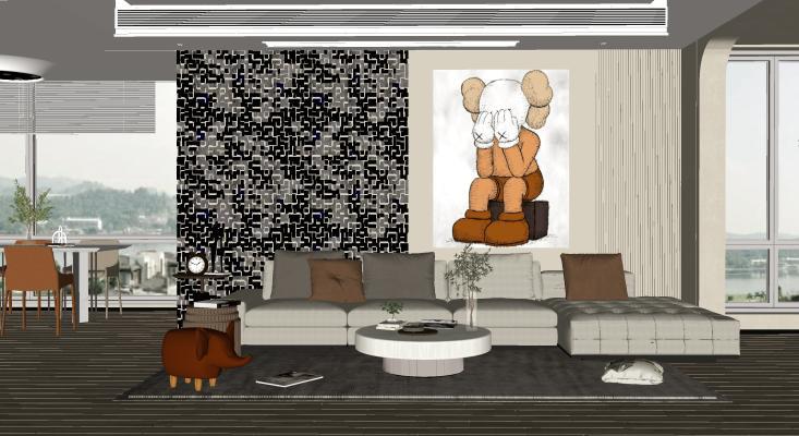 现代简约客厅 沙发茶几 绿植盆栽