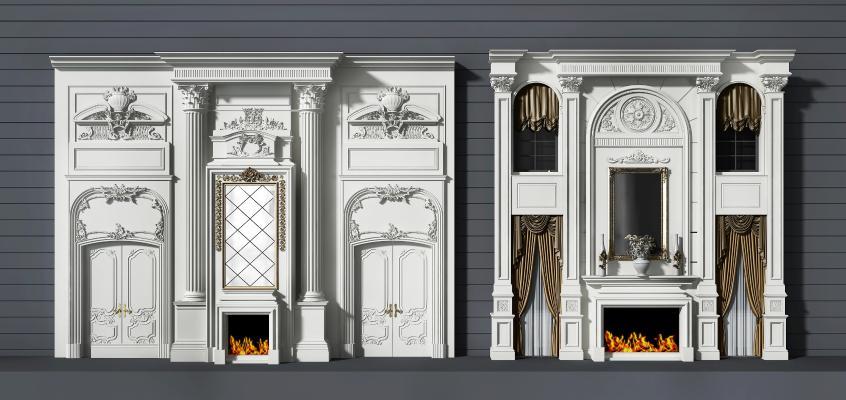 法式壁炉雕花 背景墙组合