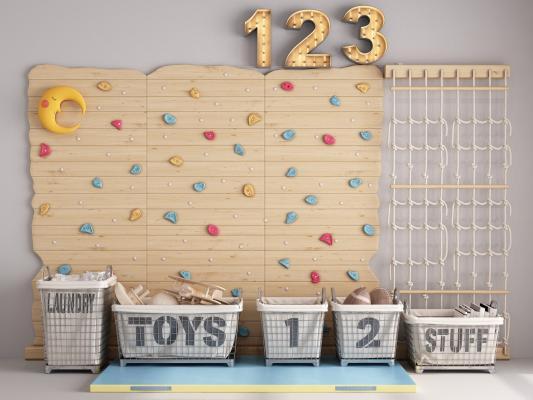 现代儿童玩具 玩具墙 攀爬墙