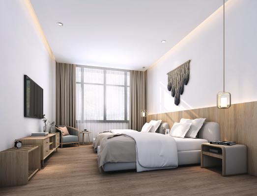新中式酒店客房 床 吊灯