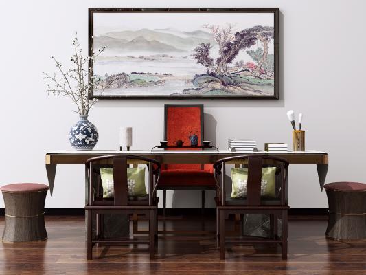 新中式实木书桌椅 写字桌 洽谈桌椅 电脑桌椅组合