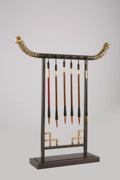 新中式铜艺毛笔架 书桌 书台 摆件 书画 毛笔