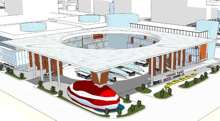 现代艺术风格车站建筑
