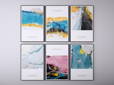 现代抽象挂画 装饰画 三联画