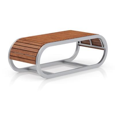 现代户外不锈钢曲面长凳