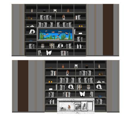 轻奢书架背景墙组合