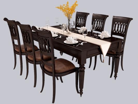 美式餐桌椅组合