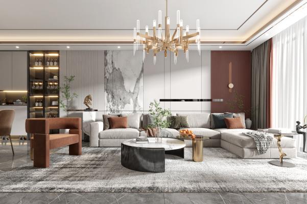 现代客厅 餐厅 沙发