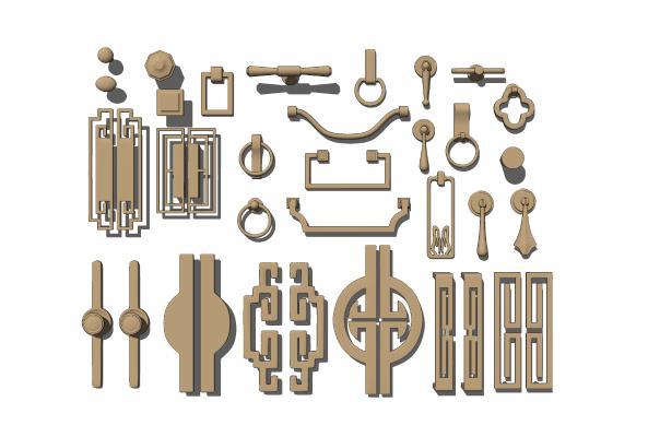 新中式铜制门把手 门拉手