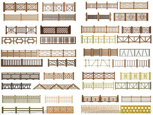 中式木质栏杆 围栏 栅栏