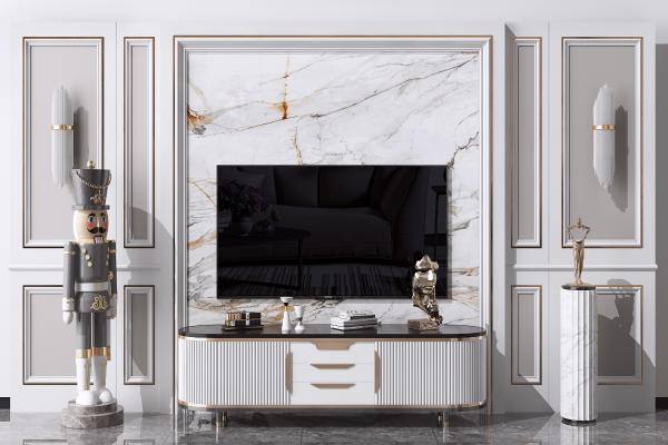 欧式电视背景墙 造型墙 电视柜
